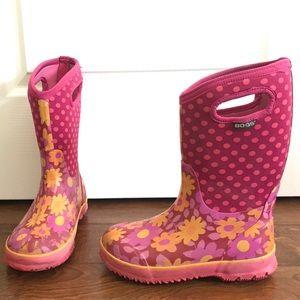 Bogs rain snow boots big girl 4 pink polka dot